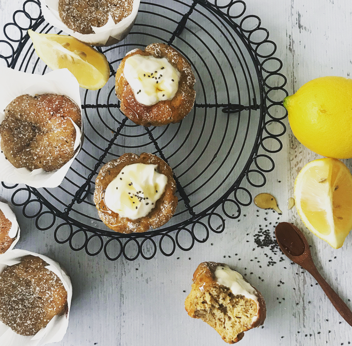 Sugar Free Lemon, Chia, Honey Cakes by Gourmet Casa Kitchen